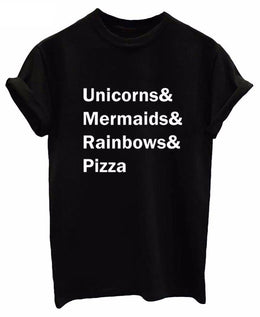 Unicorns & Mermaids & Rainbows & Pizza Print Short-Sleeved T-Shirt