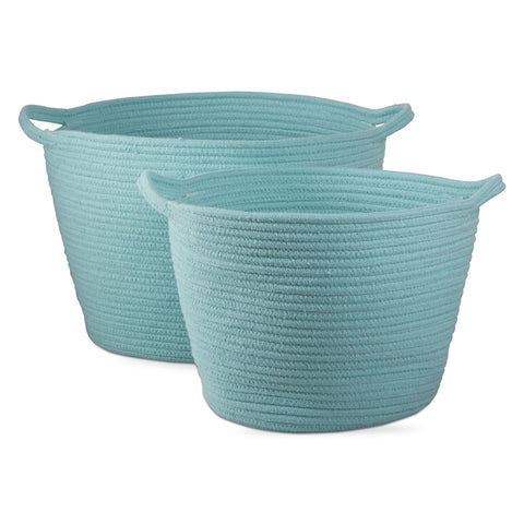 Cross Stitch Cord Basket Set of 2