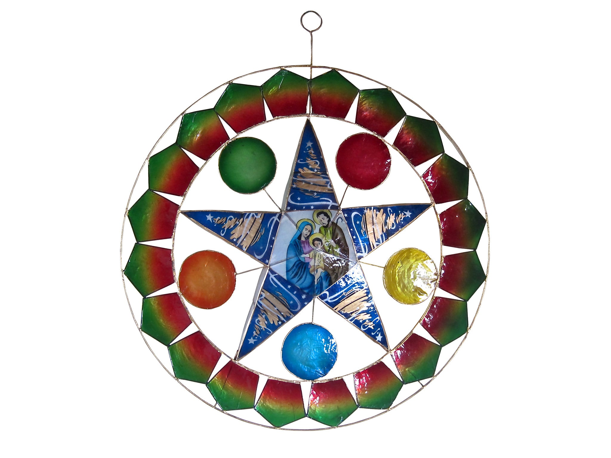 Filipino parol for sale in america - 18 Holy Family On Blue Star With Balloons Parol Without Lights