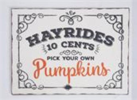 Hayrides & Pumpkins Vintage Sign