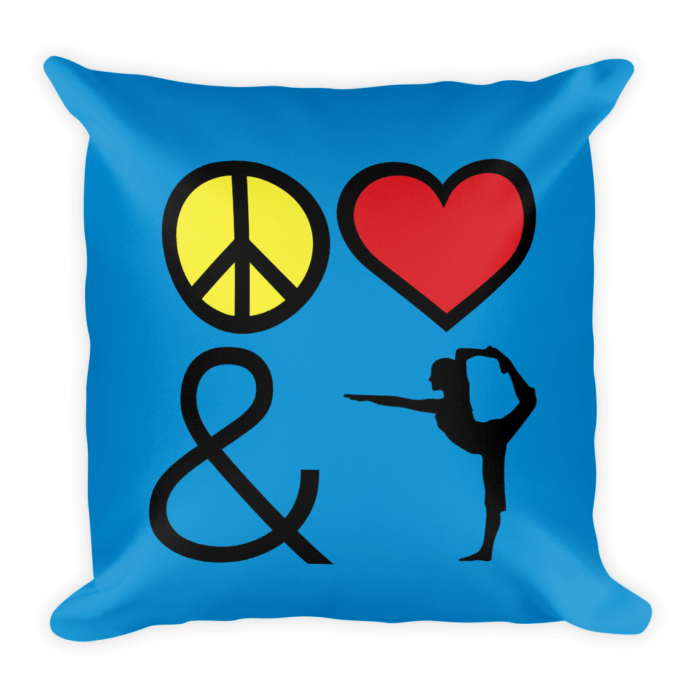Square Pillow: Peace, Love and Yoga