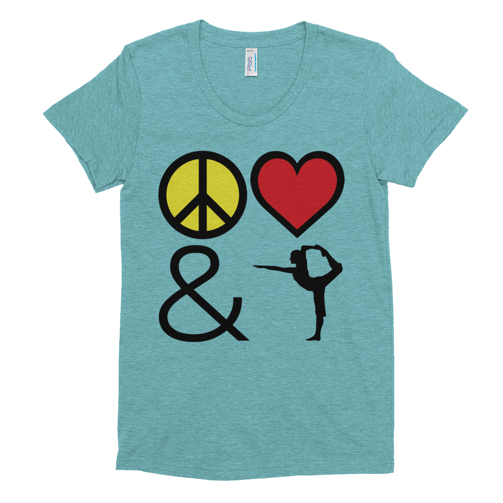 Women's Short Sleeve Soft T-Shirt: Peace Love & Yoga