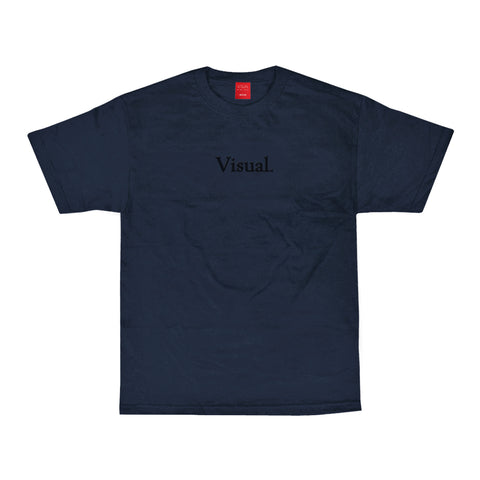 Simple Tonal Embroidered Tee - Navy