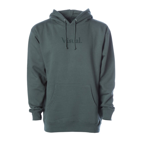 Simple Tonal Embroidered Pullover Hoody - Alpine Green