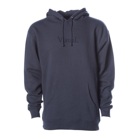 Simple Tonal Embroidered Pullover Hoody - Slate Blue