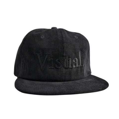 Oversized Simple Logo Unstructured Corduroy Hat - Black