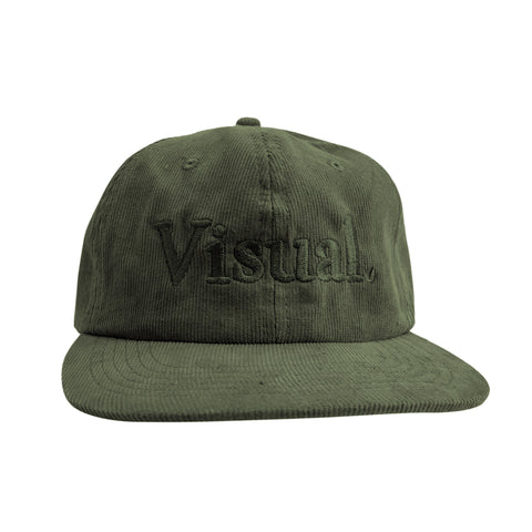 Oversized Simple Logo Unstructured Corduroy Hat - Forest Green