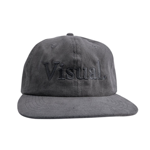 Oversized Simple Logo Unstructured Corduroy Hat - Grey