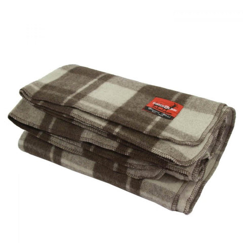 Classic Wool Blanket With Brown Plaid Pattern, 80% Wool