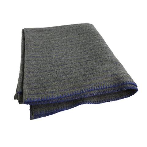 "Danish Army Blanket, Gray With Stripes, 100% Wool - 4.65 lb. 66"" x 75"""