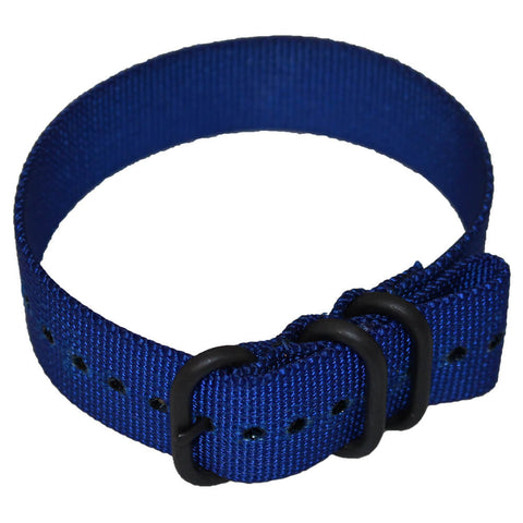 Heavy Duty Tactical Nylon Zulu Watch Band PVD Non-Glare Black Hardware - Bright Blue