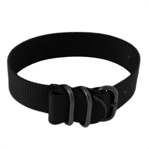 Heavy Duty Tactical Nylon Zulu Watch Band PVD Non-Glare Black Hardware - Black 22mm