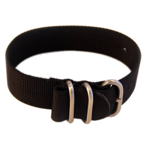 Heavy Duty Tactical Nylon Zulu Watch Band With Stainless Steel Hardware - Black