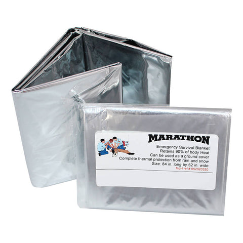 Genuine Marathon Mylar Emergency Survival Blanket HW030011 Silver | Military Wool & Mylar Survival Blankets by Marathon - Top Spec U.S.