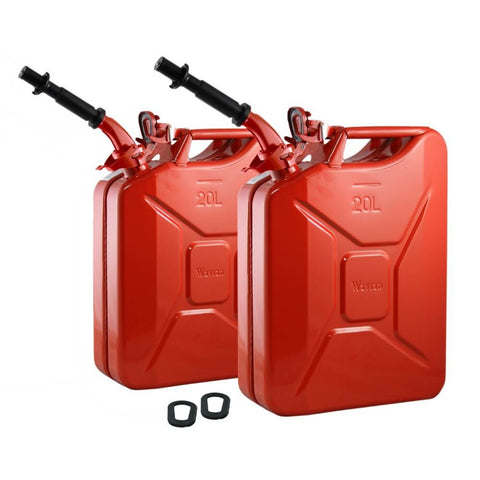 Set of Two Wavian Red 20L / 5 Gallon NATO Jerry Cans w/ 2 Spouts, Gaskets 3009 | Jerry Cans by Wavian - Top Spec U.S.