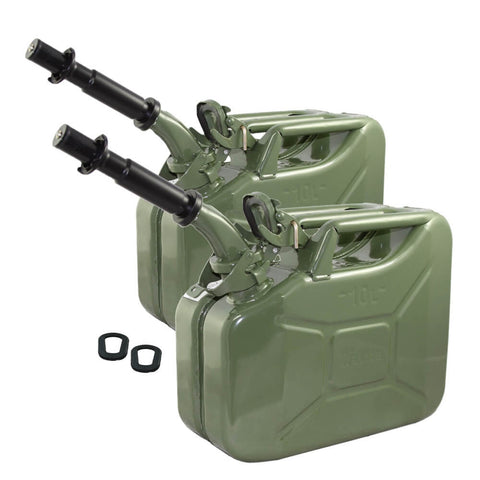 Set of Two Wavian 10L (2.6 Gal) NATO Jerry Cans w/ 2 Spouts, Gaskets - Olive Drab OD Green 3014