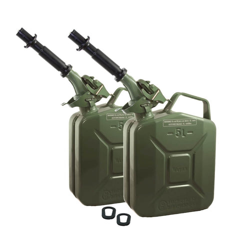 Set of Two Wavian 5L (1.3 Gal) NATO Jerry Cans w/ 2 Spouts, Gaskets Green (Olive Drab) 3016| Jerry Cans by Wavian - Top Spec U.S.