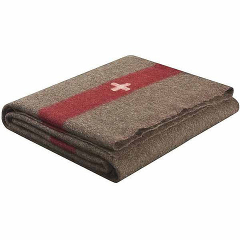 Vintage Swiss Army Wool Blanket In Chestnut Brown, White Cross | Military Wool & Mylar Survival Blankets by Swiss-Link - Top Spec U.S.