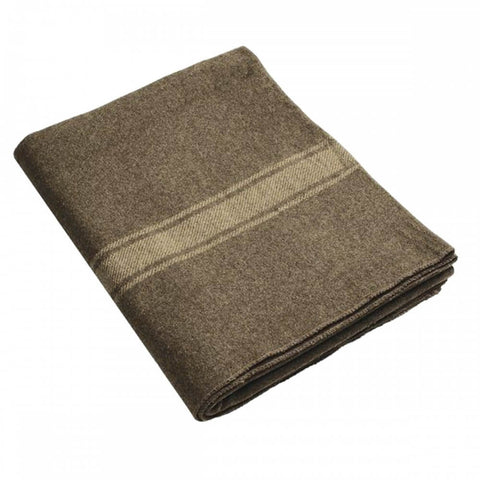 Italian 100% Wool Blanket In Brown With Cream Stripes | Military Wool & Mylar Survival Blankets by Swiss-Link - Top Spec U.S.