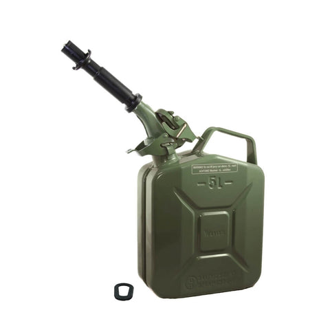 Wavian 5L (1.3 Gal) NATO Jerry Gas Can With Spout, Gasket - Olive Drab OD Green 3016