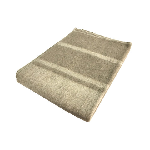 "Reproduction Italian 80% Wool Blanket In Brown With Cream Stripes - 4.7 lb. 60"" x 84"""
