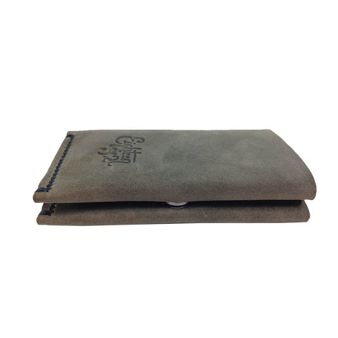 The Roosevelt - Handmade Leather Cardholder Wallet - Gray - Side