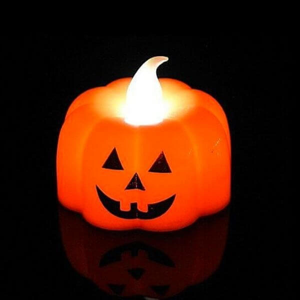 Halloween Pumpkin Flameless Candle Lights ( 12 pcs )