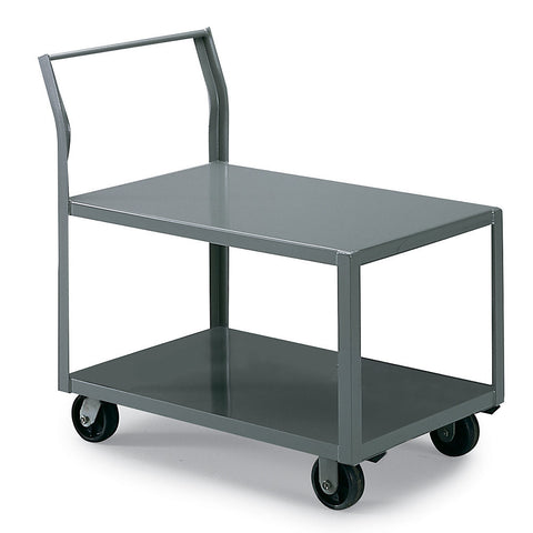 "AKRO-MILS All-Welded Low-Deck Trucks - with Sloping Handle - 25""H Top Shelf - 36""Wx18""D Shelf - Flush top/bottom shelf"