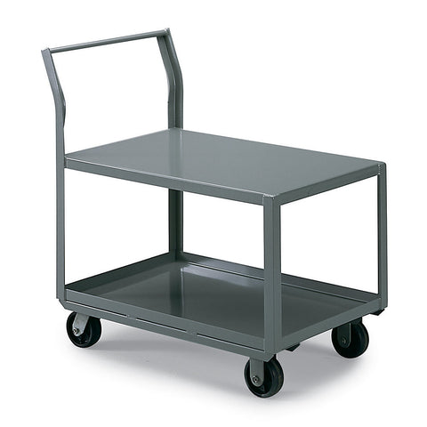 "AKRO-MILS All-Welded Low-Deck Trucks - with Sloping Handle - 25""H Top Shelf - 42""Wx24""D Shelf - Top and bottom shelf with 1-1/2"" lip"