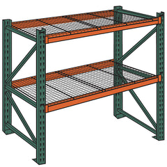"HUSKY Complete Pallet Rack and Deck System - Standard Load -108x36x144"" - 4.3""H Beams - Starter Unit"