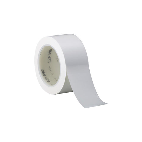 "3M 471 Solid Vinyl Tape - 0.5"" x 36 Yards - 5.2 Mil - White"