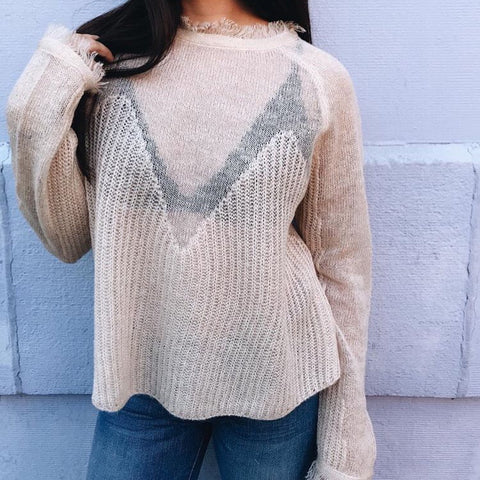 BLUSH FRAYED SWEATER