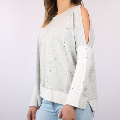 SLIT DISTRESSED PULLOVER