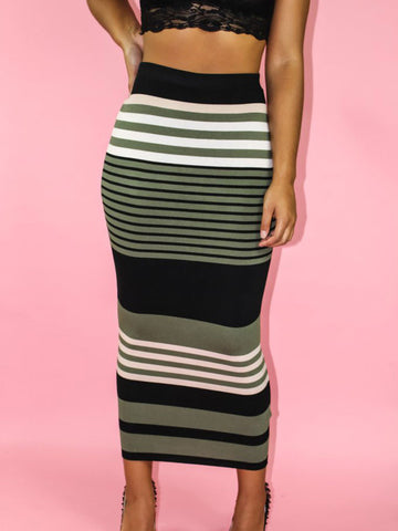 Stripe Bodycon Skirt (Olive)