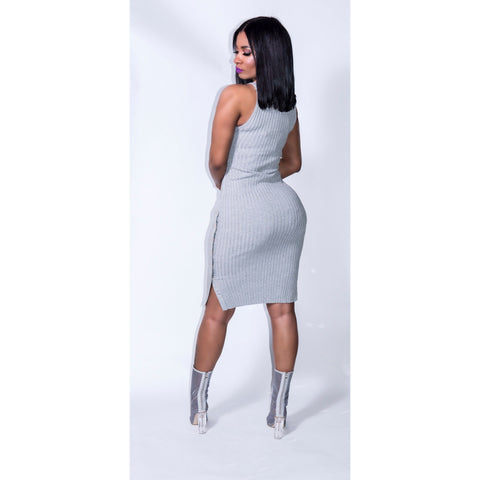 Grey Ribbed Dress