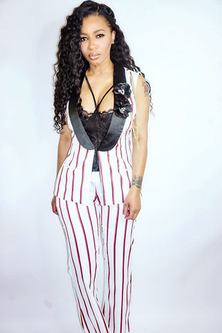 Lady Luck | Striped Vest Suit