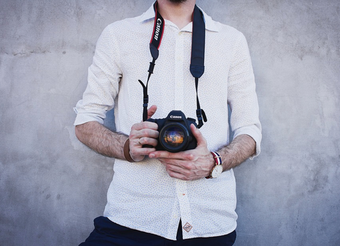 Alt: photography camera with straps around a person's neck