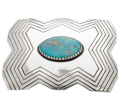 Kee Joe Benally Buckle of Sterling Silver and Turquoise in Lightning Design