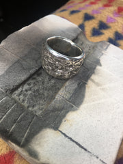 Silver Tufa Cast Ring In Its Tufa Mold By Ira Custer