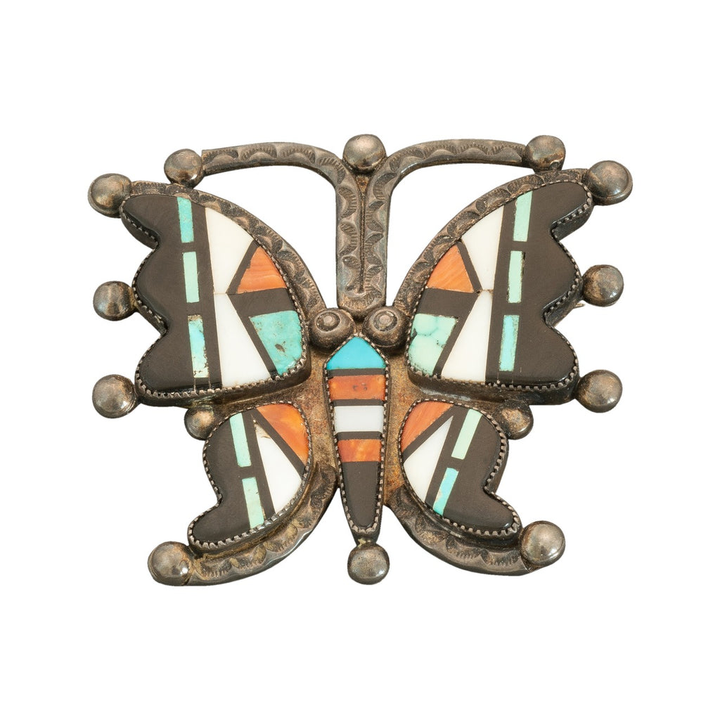 Frank Vacit Butterfly Brooch of mosaic inlay
