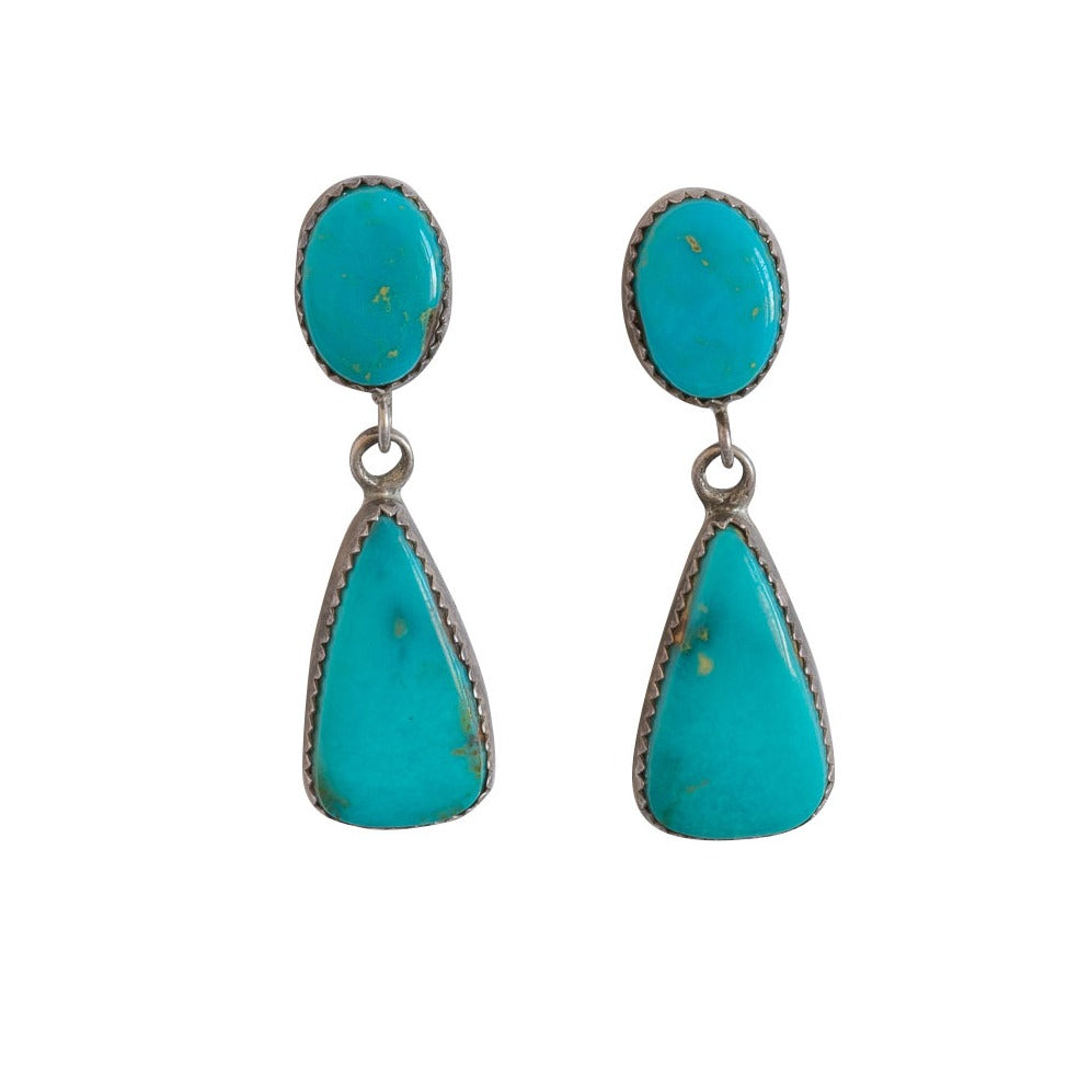 Vintage Turquoise Dangle Earrings of Teardrop Shape