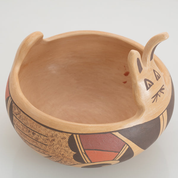 Handmade Hopi Easter Bunny Bowl With Polychrome Painting