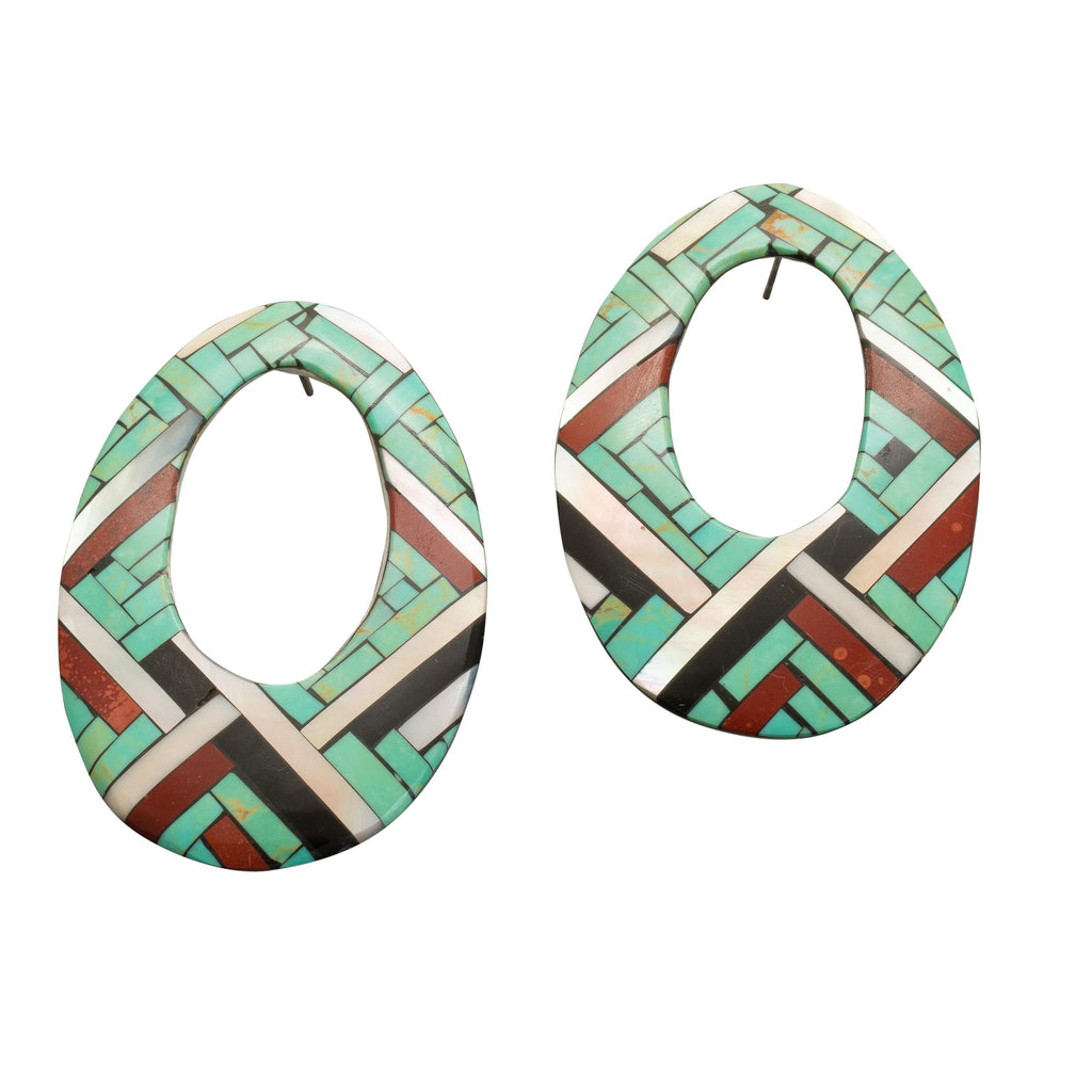 Vintage Angie Reano Owen Statement Earrings of Mosaic Inlay