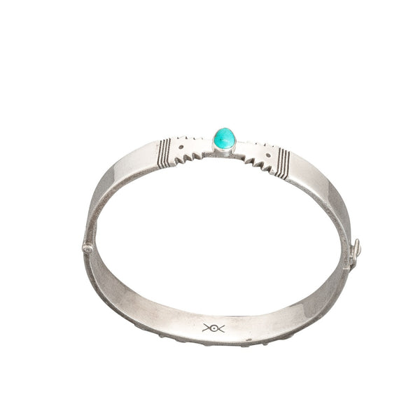 Norbert Peshlakai Sterling Silver Bangle Bracelet With Turquoise