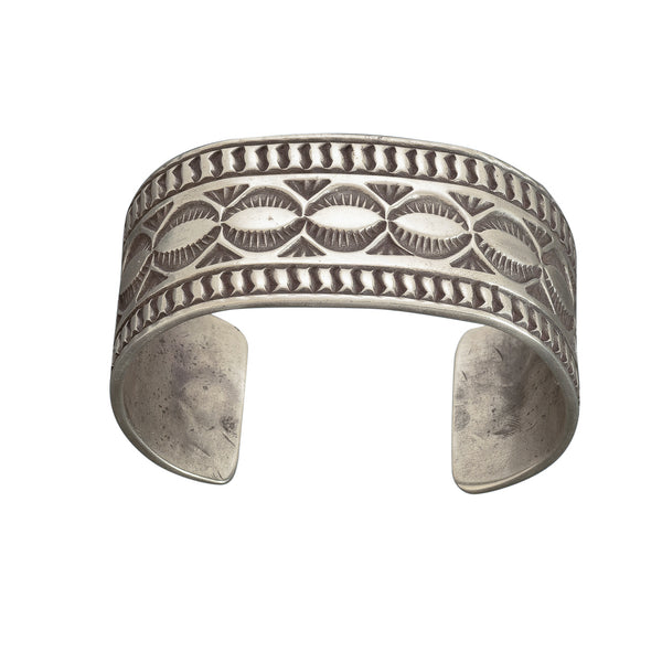 Ben Yellowhorse Heavy Stamped Silver Cuff