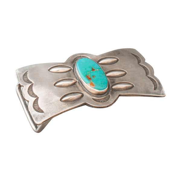 Vintage Navajo Silver Belt Buckle With Natural Blue Gem Turquoise