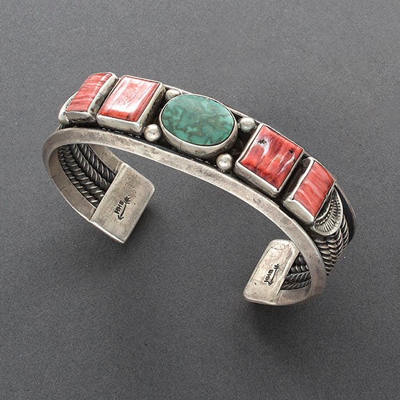 Harry H. Begay Cuff of Turquoise and Red Spiny Oyster