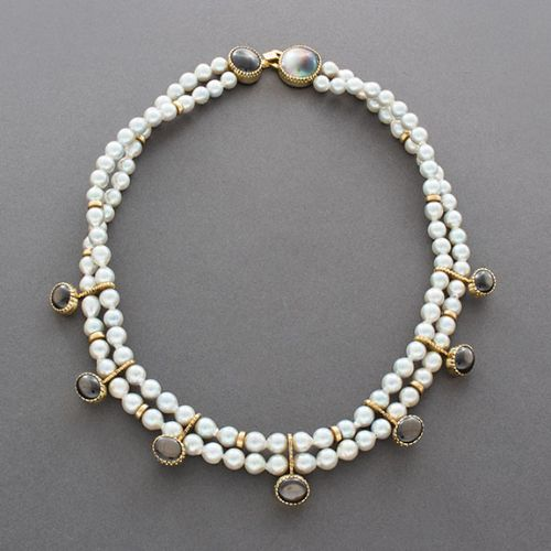 Gail Bird and Yazzie Johnson Necklace of Chinese Baroque Pearls