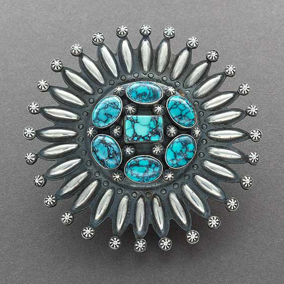Large Navajo Starburst Pin With Fine Natural Spiderweb Turquoise By Paul Begay