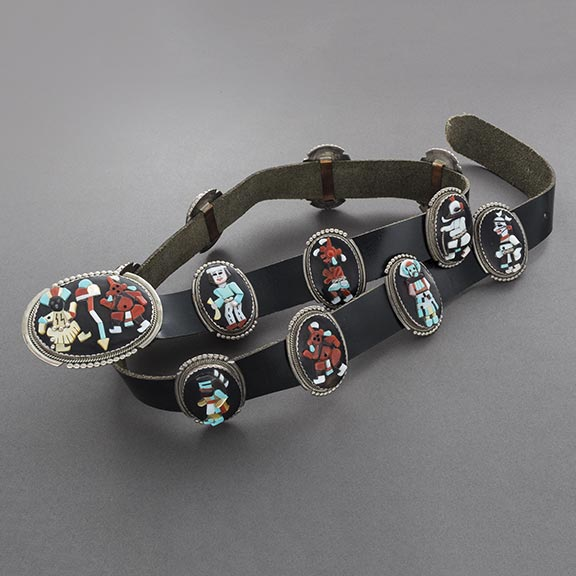 Beverly Etsate Concho Belt With Inlay Kachinas